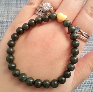 24K Solid Gold Star Jadeite Jade Beaded Bracelet